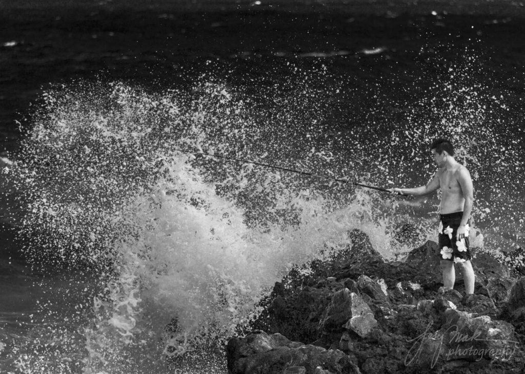 Oahu Sandy Beach Fisherman 2