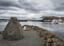 Girl Looking Out at Ship (Iceland Stykkishólmur Harbor 2019)