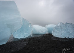 Iceland Five Icebergs at Diamond Beach (Breidamerikursandur) at Low Tide (2019)