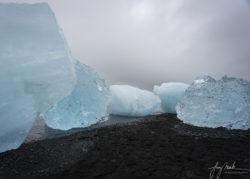 Iceland Five Icebergs at Diamond Beach (Breidamerikursandur) at Low Tide (2019)