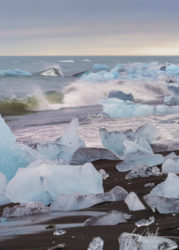 Iceland Diamond Beach (Breidamerikursandur) at High Tide with Waves Crashing (2019)