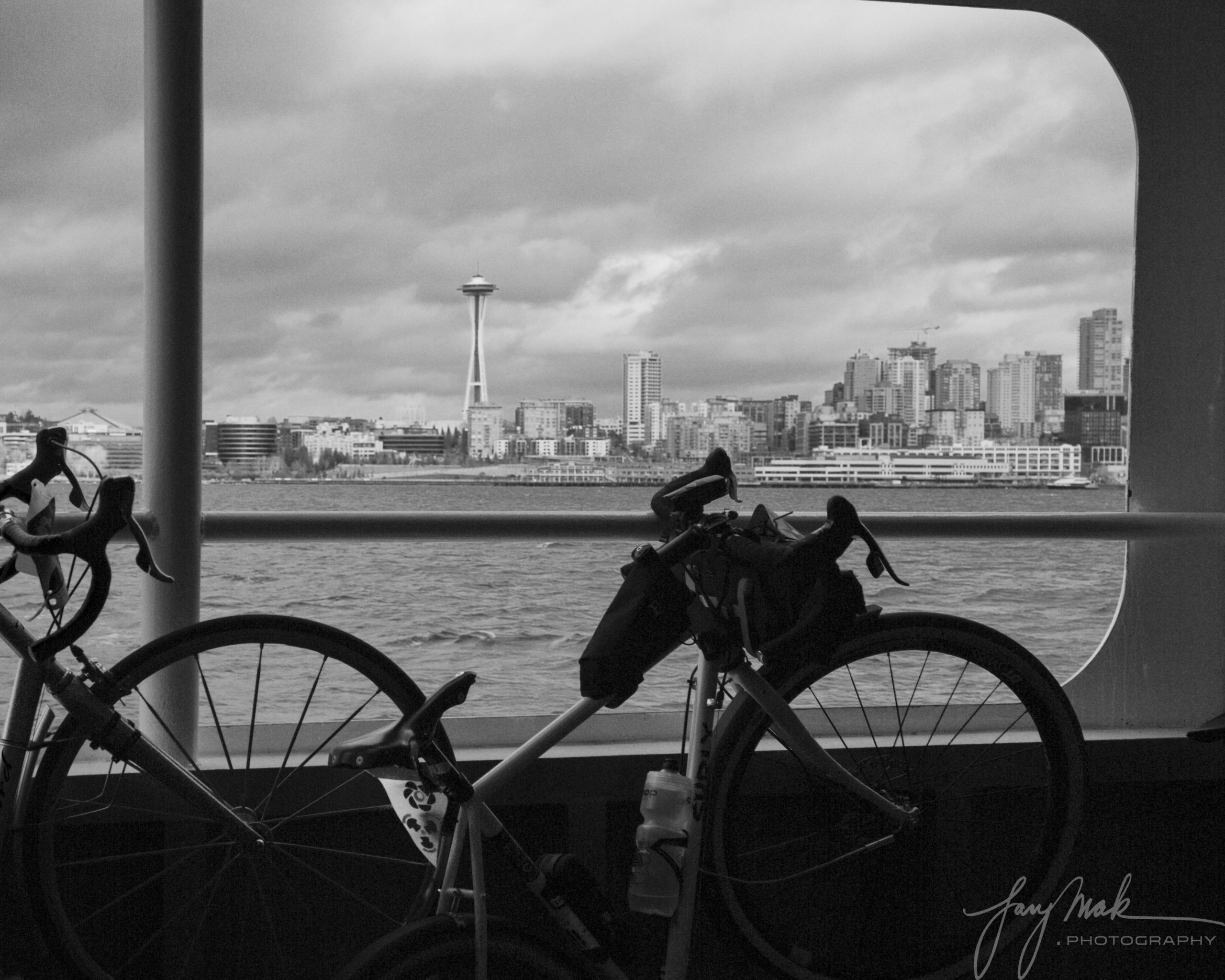 Bicycles, Clouds, Ferry, Space Needle: Seattle